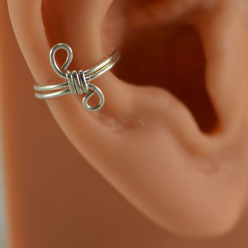 Sterling Ear Cuff No Pierce Cartilage Wire Wrapped
