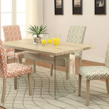 5 pc Glassden collection light oak finish wood dining table set with green or orange geometric patterned chairs