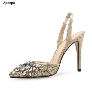 Apoepo Pointed Toe High Heel Shoes 2018 Sexy Crystal Embellished Thin Heels Shoe for Woman Bling Bling Glitter Wedding Heels