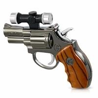 Revolver Multi-Purpose Mini Hand Gun Shaped Laser Pointer & Windproof Butane Lighter