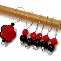 Stitch Markers Set, Beaded, Red Flower, Black, Snag Free, DIY Knitting Tools, Gift for Knitter, TJBdesigns