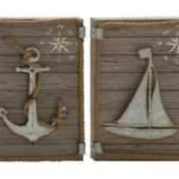 Marine Wood Metal Wall Decor 2 Assorted