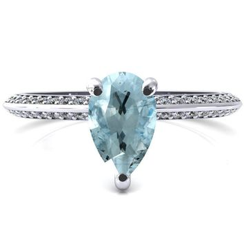 Nancy Pear Aqua Blue Spinel 3 Prong 1/2 Eternity Diamond Knife Shank Accent Engagement Ring