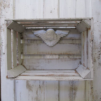 Crate wall shelf with chalkware vintage angel up cycled putty gray wooden box wall decor anita spero