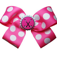Large Field Hockey Hair Bow in Hot Pink
