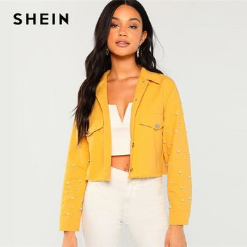 SHEIN Ginger Cotton Pearl Beaded Pocket Collar Neck Jacket Casual Single Breasted Crop Coat Women Autumn Streetwear Jackets