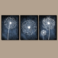 DANDELION Wall Art Prints Flower Artwork Navy Blue Custom Colors Grunge Background Prints Bedroom Wall Art Bathroom Decor Dorm Set of 3