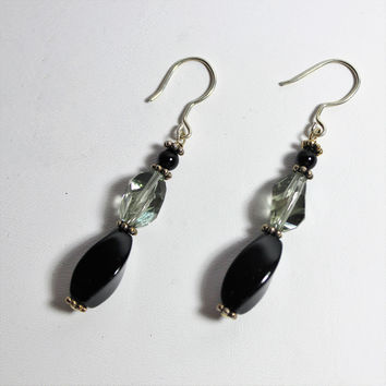 Swarovski Black Diamond Cubist Crystals, Onyx and Bali Sterling Earrings