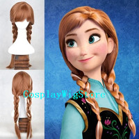 Frozen Wig Disney Princess Anna Wig High Quality Cosplay Wig Weave Ponytails Wig Heat Resistant Free Shipping
