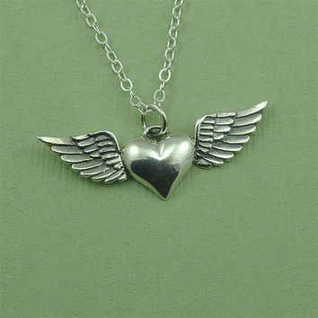 Heart Wing Necklace - sterling silver heart with wings pendant jewelry - gift