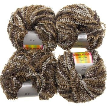 Celebri Purpur High Fashion Yarn Turkey Metallic Sheen Lot 4 Skeins Balls