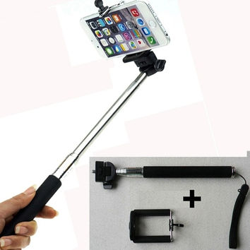Extendable Self Selfie Stick Handheld Monopod+Clip Holder For iPhone Samsung Gopro = 1706104708