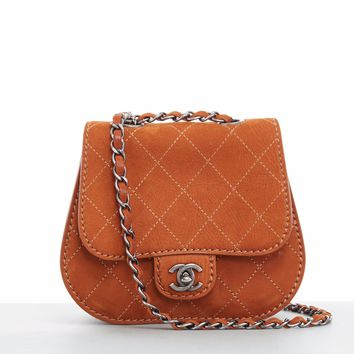 CHANEL Coco Twin small brown quilted leather dual pouch saddle crossbody bag