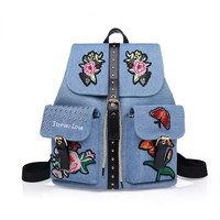 Triple Stone Denim College Backpack Flower Embroidery Girls Schoolbags School Bags For Students Women Fashion Retro Shoulder Bag