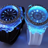 casual rhinestone light up jelly watch