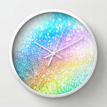 rainbow glitter Wall Clock by Haroulita