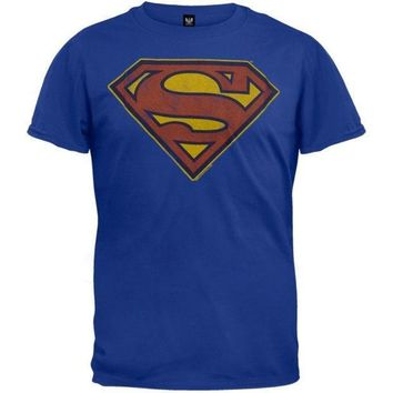 Superman   Distressed Logo T Shirt = 1946722692