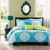 Aqua Blue Lime Green Floral Damask Print Comforter Bedding Set Girls Teen Full Twin (twin/twin xl)