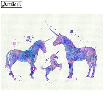 5D Diamond Painting Three Unicorns Kit