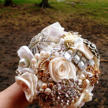 "Custom Brooch Bouquet, Deposit Wedding, Vintage, Bridal, 10"", Fabric Flower Bouquet, Weddings, One of a Kind You Choose Colors"