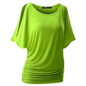 Spring Summer Womens O-neck T Shirt Short Sleeve Crewneck Cut Out Off Shoulder Top