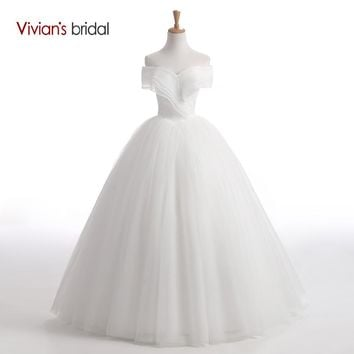Strapless Ball Gown Wedding Dress Off Shoulder Lace Tulle Wedding Gown