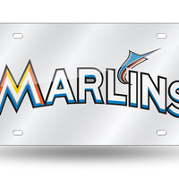 MLB Miami Marlins Laser License Plate Tag - Silver