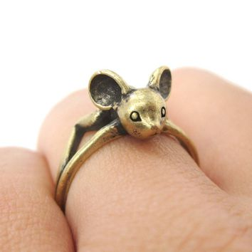 3D Baby Bat Shaped Animal Knuckle Wrap Ring in Brass | Animal Jewelry