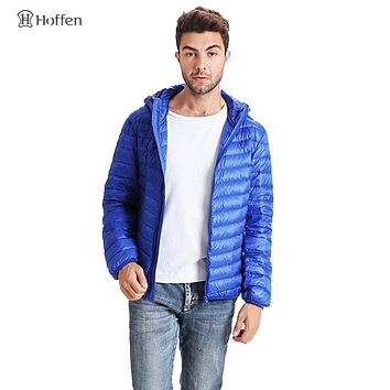 Hoffen brand-clothing men's winter down coat slim fit hooded down jacket zipper design solid color light weight puffer coat WS01
