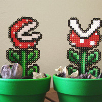Super Mario inspired Potted Tiny Piranha Plant. 2 different models