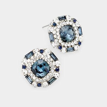 Marquise Glass Stone Evening Stud Earrings