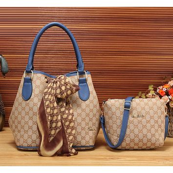 Gucci Women Fashion Leather Satchel Bag Shoulder Bag Handbag Crossbody Set Two Piece