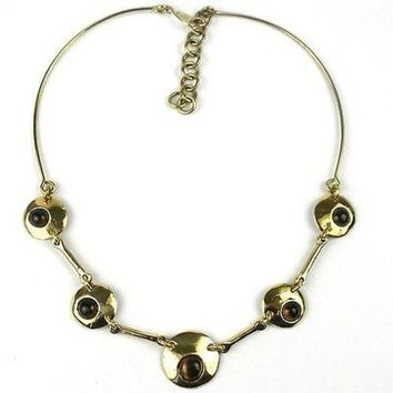 Bonbon Gold Tiger Eye Necklace - Brass Images (N)