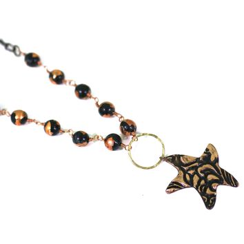 Copper Star Necklace with Polymer Clay Beads // Perfect Witch Costume Accessory