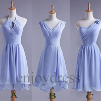 Custom Sky Blue Simple Cheap Short Bridesmaid Dresses 2014 Simple Prom Dresses Cheap Evening Gowns Cheap Party Dress New Homecoming Dresses