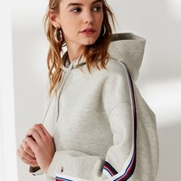 Tommy Hilfiger Striped Cropped Hoodie Sweatshirt | Urban Outfitters