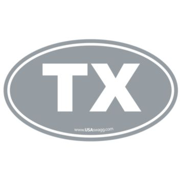 Texas TX Euro Oval Sticker GREY