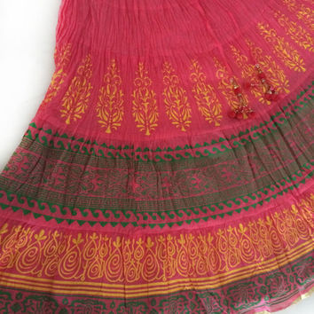 Pink Skirt, Indian Skirt, Bollywood Skirt, Gypsy Skirt, Printed Skirt, Festival clothing, Boho Skirt, Long Flowy skirt, Maxi skirt
