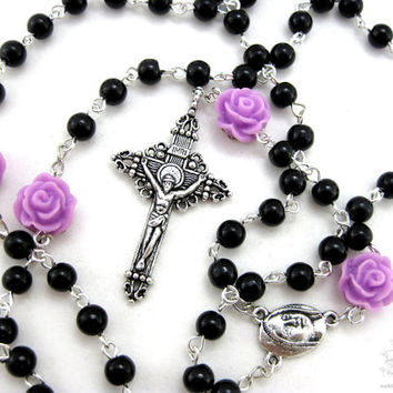 Gothic black rosary necklace, goth rosary, steampunk rosaries, confirmation rosary, catholic rosaries, gothic jewelry, catholic gift, rosary