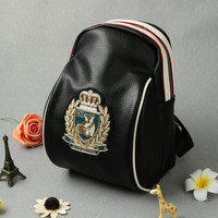 PU Leather Appliques Zippered Black Backpack with Adjustable Strap and Gold Patch