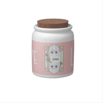Retro Owls & Roses Personalized Pink Candy Jars: Love Girly Cookie Jars: Valentine's Day, Mother's Day, Anniversary Gift Idea for Her