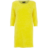 River Island Womens Yellow fluffy knitted 3/4 sleeve dress