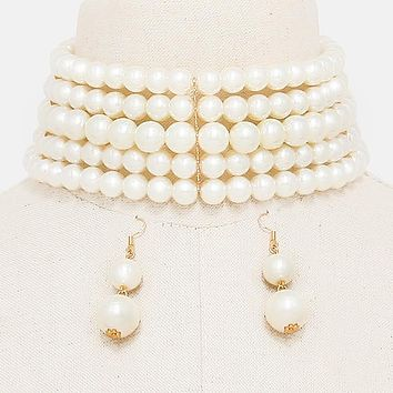 "13.50"" gold faux pearl 5 layer choker collar bib necklace 2"" earrings"
