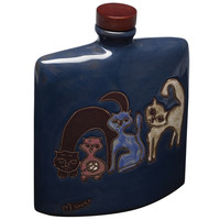 Cat Family Hand Etched Square Decanter