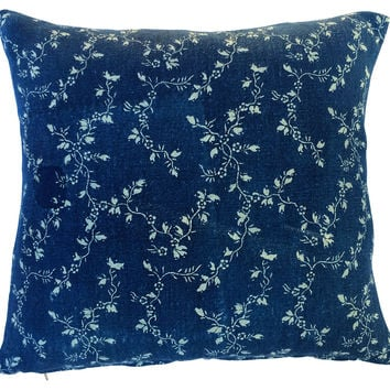 French Floral Indigo Grain Sack Pillow