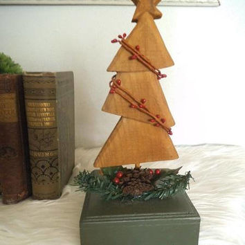 Vintage Primitive wooden Christmas  Tree ~ Christmas Stocking holder ~ Country Farm House