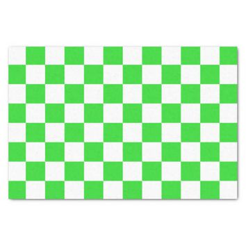 Lime Green and White Checkerboard Pattern Tissue Paper