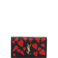 Saint Laurent Kate Monogram Heart-Patch Clutch Bag, Black/Red