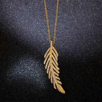 ONETOW Tiffany Women Fashion Feather Plated Necklace Jewelry