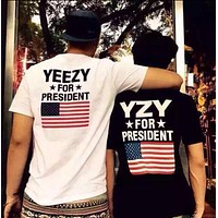 Yeezy Popular Unisex Classic Personality Print Short Sleeve T-Shirt Pullover Top I